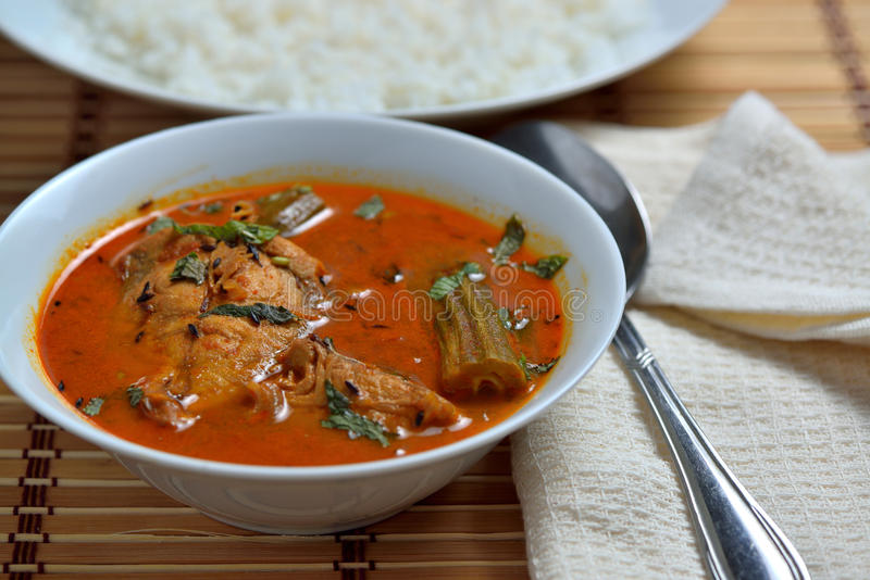 Trevally jest fish curry. With white rice stock images