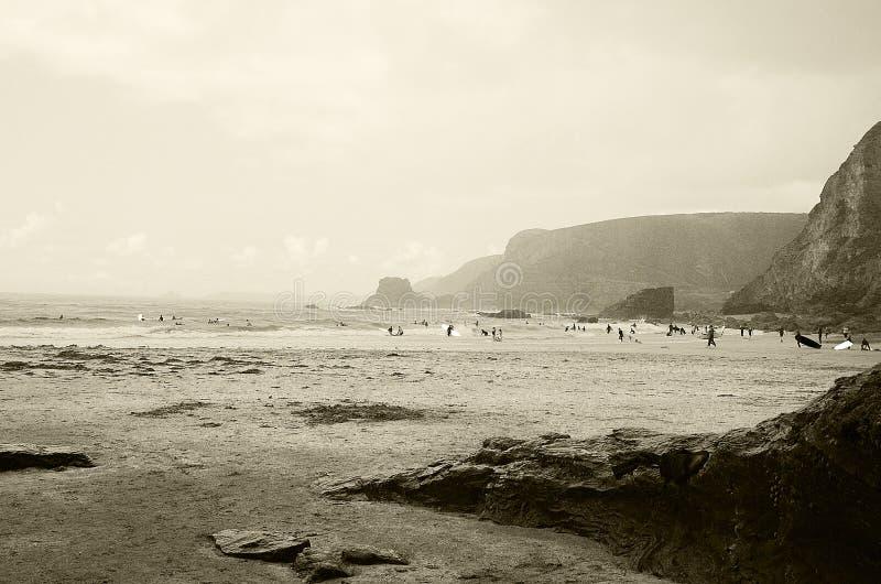 Trevaunance liten vik, St Agnes Cornwall arkivbilder