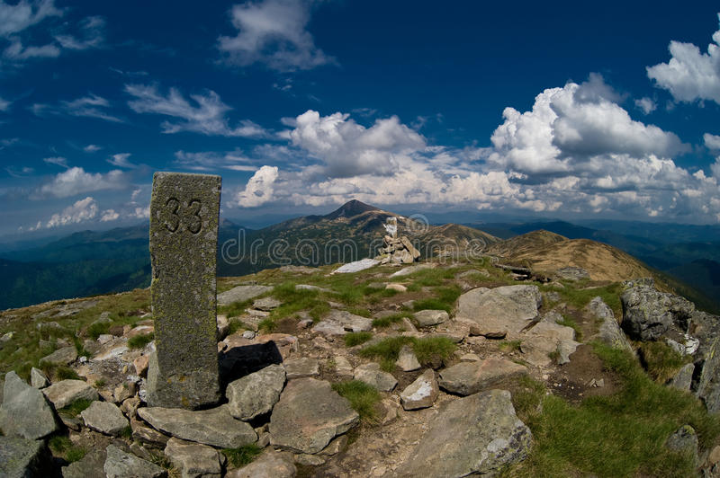 Trevel in the mauntains. Travel in the mountains with fish eye lens stock image