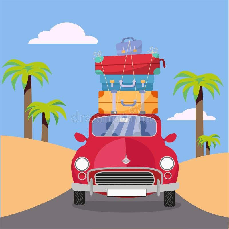 Treveling乘有堆的红色汽车在屋顶的行李袋子在与棕榈的海滩附近 夏天旅游业,旅行,旅行 r 向量例证