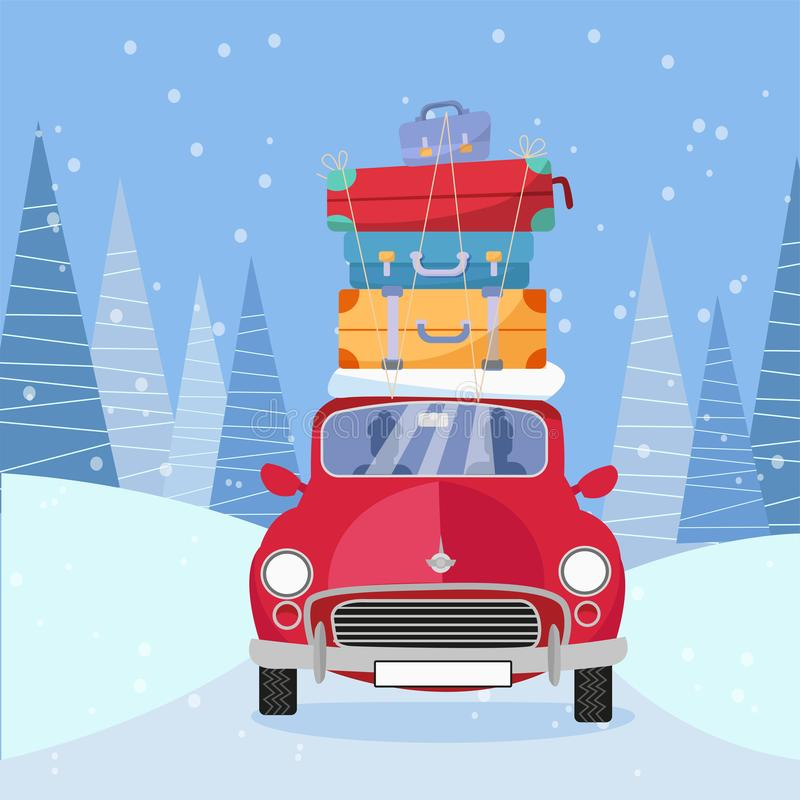 Treveling by red car with pile of luggage bags on roof on the road by the snowy forest. Winter tourism, travel, trip. Flat cartoon royalty free illustration
