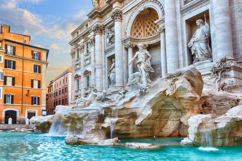 Trevi fontanna w Rzym, Włochy, ranku widok, żadny ludzie obraz stock