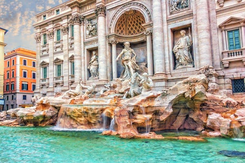 Trevi fontanny jaskrawy widok fotografia stock