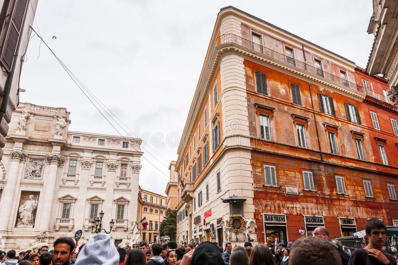 Trevi Fontein of Fontana Di Trevi bij Piazza Trevi, Rome stock fotografie