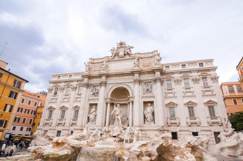 Trevi Fontein of Fontana Di Trevi bij Piazza Trevi, Rome royalty-vrije stock foto