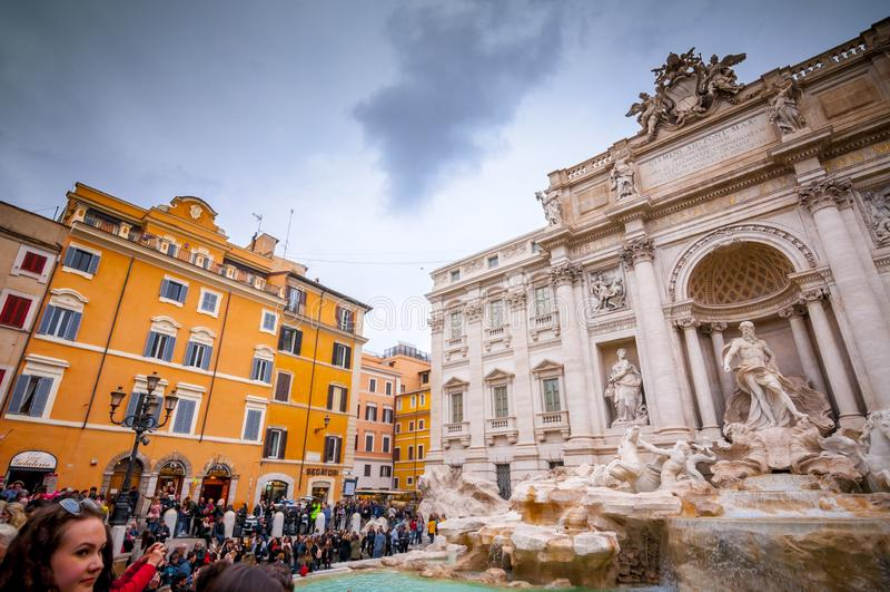 Trevi Fontein of Fontana Di Trevi bij Piazza Trevi, Rome royalty-vrije stock afbeeldingen
