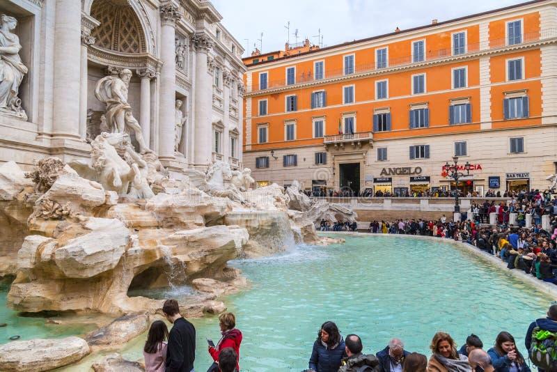 Trevi Fontein of Fontana Di Trevi bij Piazza Trevi, Rome royalty-vrije stock foto's