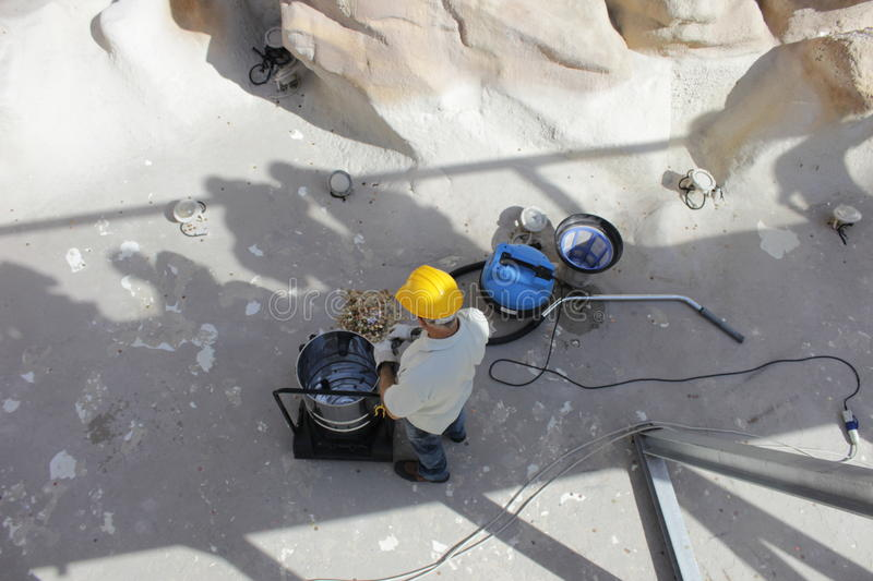The Trevi Fountain cleaning and restoration stock photo