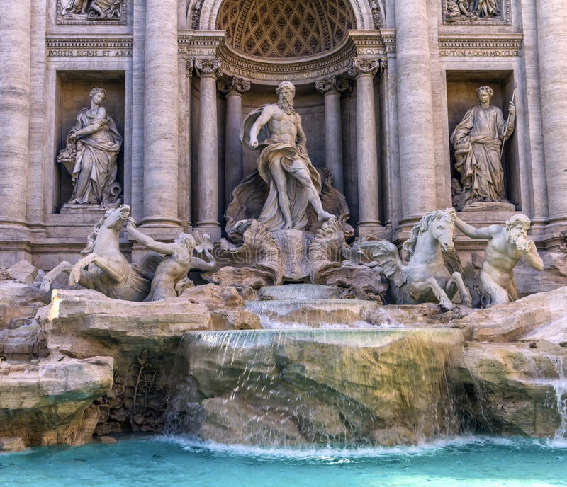 Trevi fountain, Roma, Italy. Close up on Trevi fountain by day, Roma, Italy stock photos