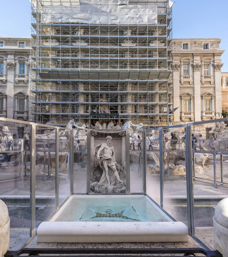 Trevi Fountain under reconstruction royalty free stock image