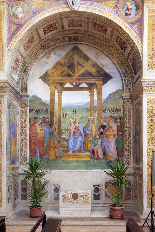 Adoration of the Magi by Perugino in a church royalty free stock photos