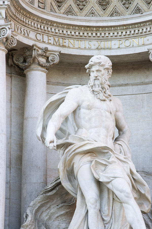 Trevi's Neptune. Close up of the Neptune statue of the Trevi Fountain in Rome, Italy stock photography