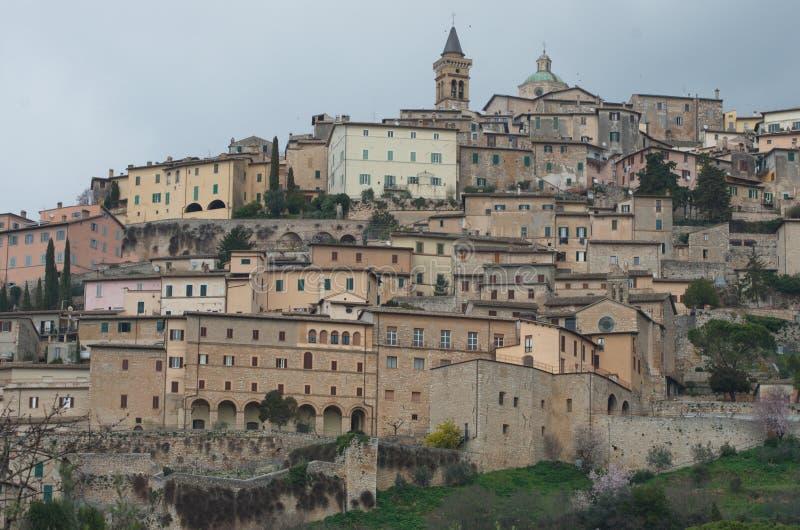 Trevi, Trebiae, cidade antiga e comune em Úmbria, Itália fotos de stock royalty free