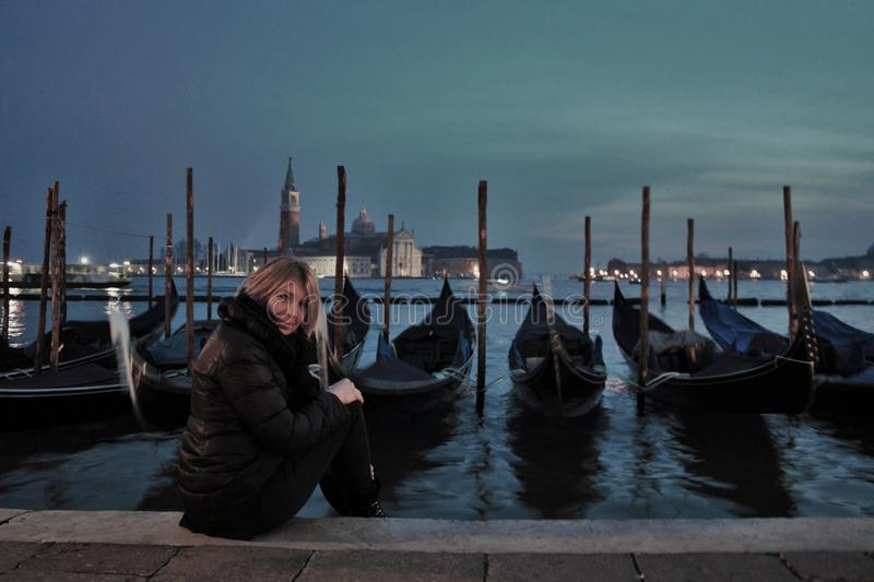 Venice, a beautiful Italian city, at magical night. millions of tourists have now visited it. royalty free stock images