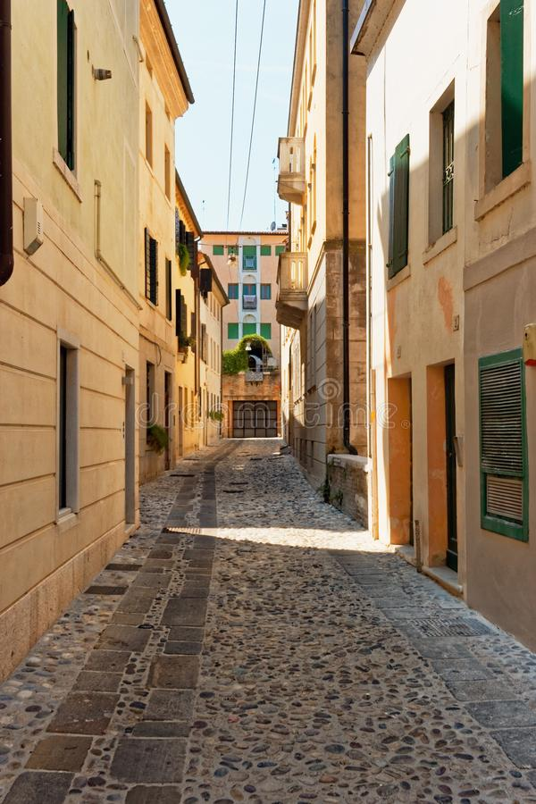 Treviso, Italy August 7, 2018: Beautiful street with old buildings. stock photos