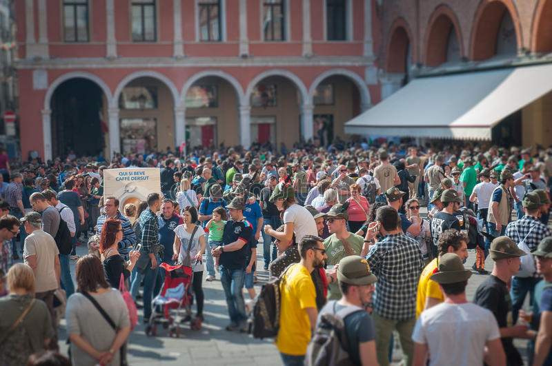 TREVISO, ITALY - MAY 13: national assembly of the italian veterans alpine troops. 13 and 14 may 2017. Tilt shift effect of people in the Treviso`s central stock photography