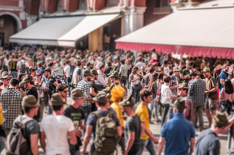 TREVISO, ITALY - MAY 13: national assembly of the italian veterans alpine troops. 13 and 14 may 2017. Tilt shift effect of people in the Treviso`s central stock image