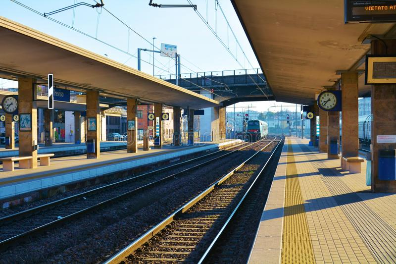 Treviso station, trains station royalty free stock photo