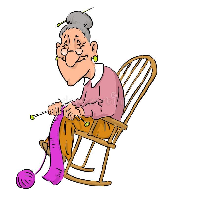 Trevlig äldre mormor i en gungstol royaltyfri illustrationer