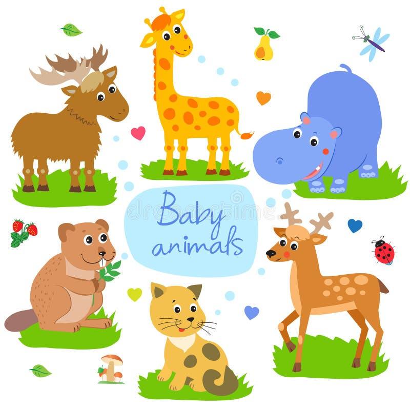 Trevlig barnslig bakgrund Giraff bäver, katt, flodhäst, älg, hjort seamless vektor för modell royaltyfri illustrationer