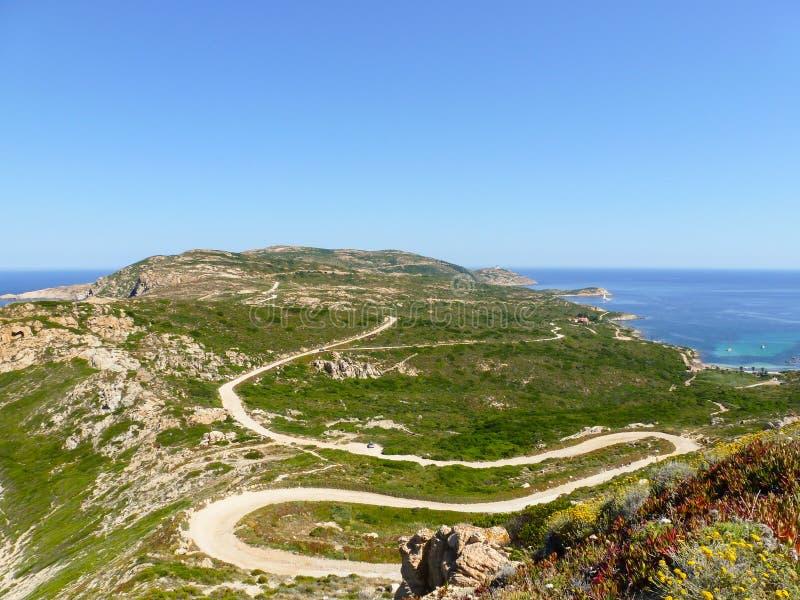 Trevlig bendy väg på kustlinjeinCorsicasöder av Frankrike royaltyfri foto