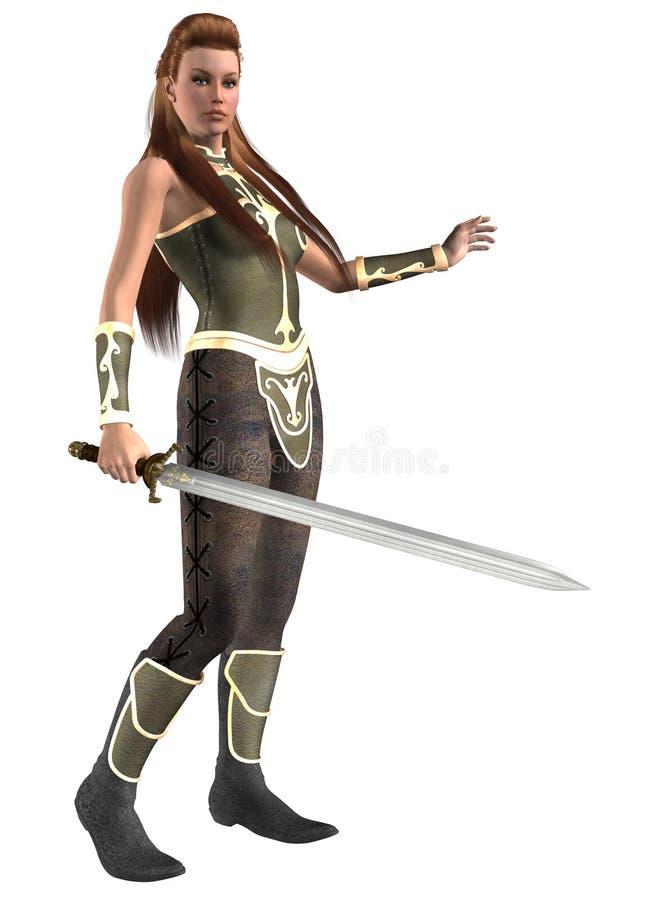 Trevlig fantasikrigare som beväpnas med det långa svärdet, illustration 3d vektor illustrationer