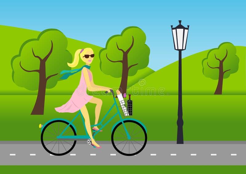 Trevlig flicka som rider en cykel stock illustrationer