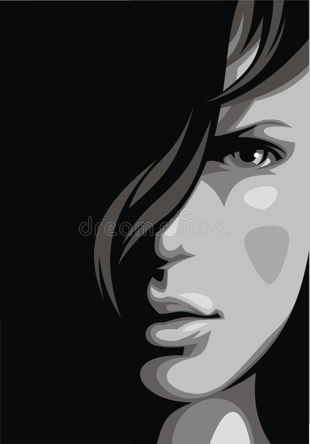 Trevlig flickaframsida från min dröm royaltyfri illustrationer