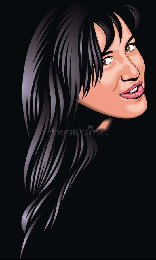 Trevlig framsida för flicka (kvinna) från min fantasi vektor illustrationer