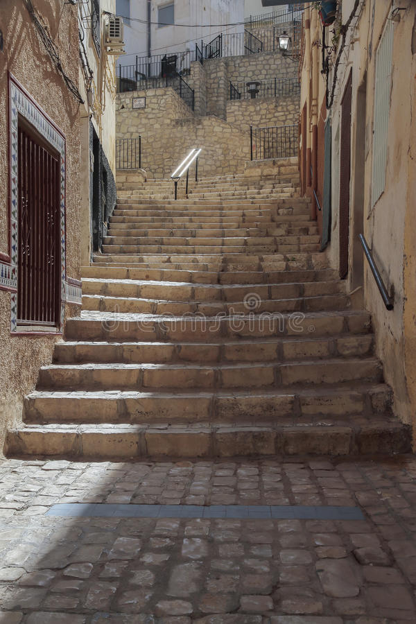 Trevlig gata i Petrer arkivfoton