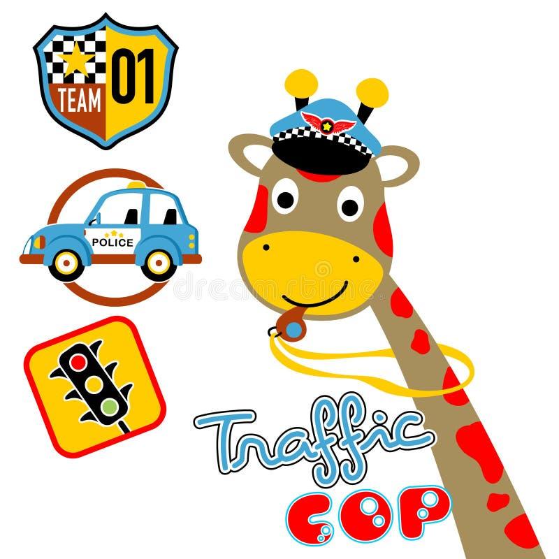 Trevlig girafftecknad film med utrustningar för trafiksnut stock illustrationer