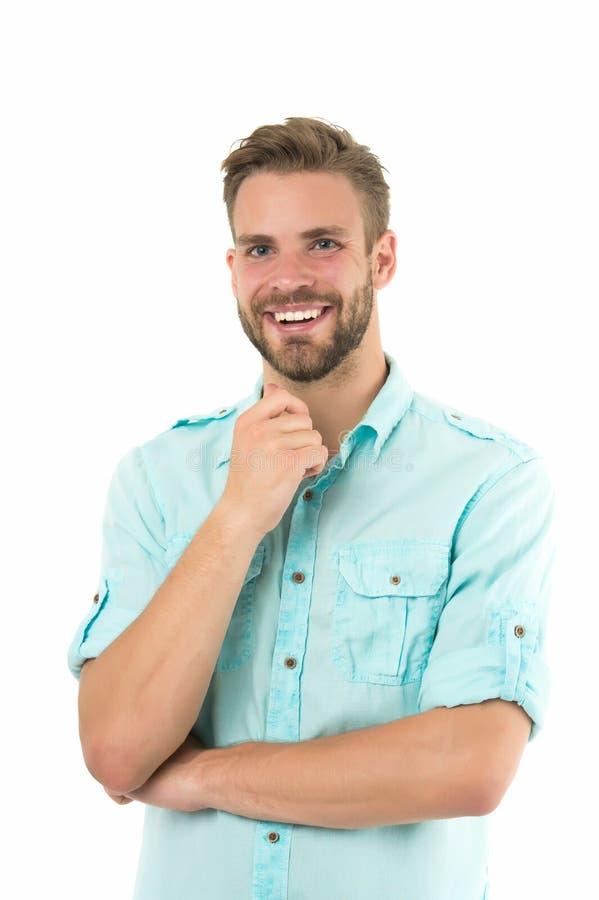 trevlig idé Stilig skäggig grabb för man som ler på isolerad vit bakgrund Känner sig det macho gladlynta leendet för grabben lyck arkivfoton