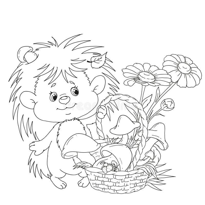 Trevlig igelkott med en korg Ett tecknad filmtecken är en igelkott med champinjoner och blommor Vektor för färgläggningbok stock illustrationer