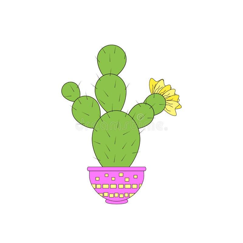Trevlig kaktus på den vita bakgrunden också vektor för coreldrawillustration vektor illustrationer