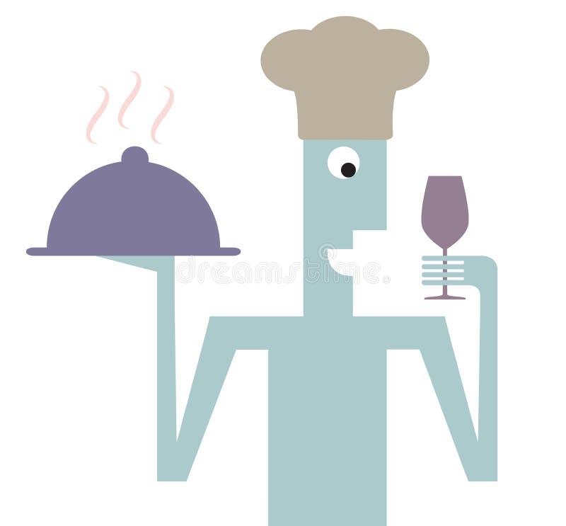Trevlig kock som tjänar som maträtten royaltyfria foton
