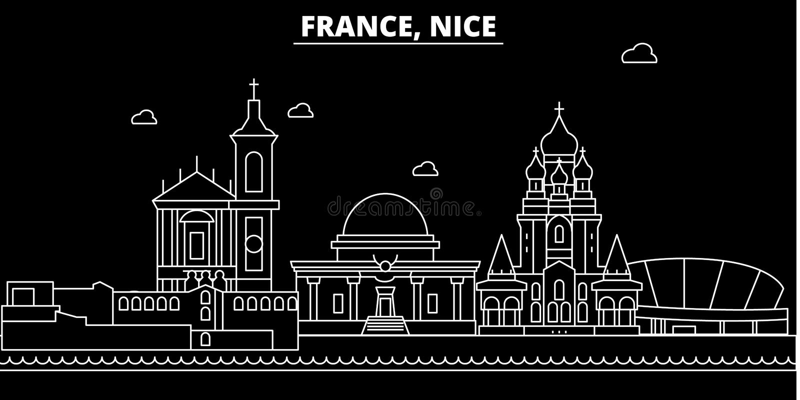 Trevlig konturhorisont Frankrike - trevlig vektorstad, fransk linjär arkitektur, byggnader Trevlig loppillustration royaltyfri illustrationer