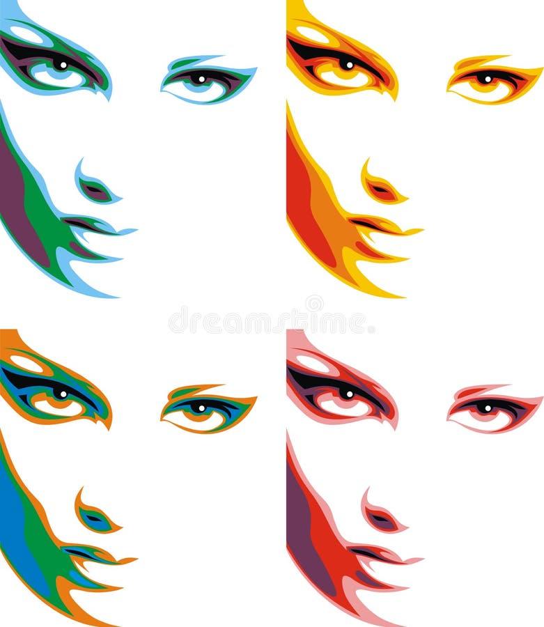 Trevlig kvinnaframsida i 4 färger stock illustrationer