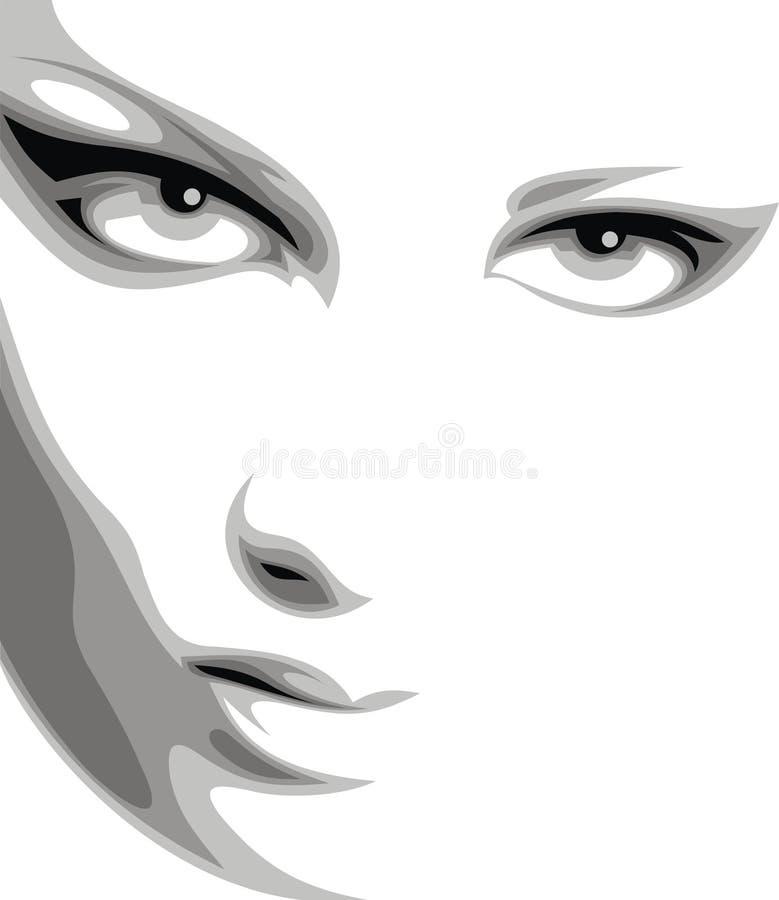 Trevlig kvinnaframsida i svartvitt stock illustrationer