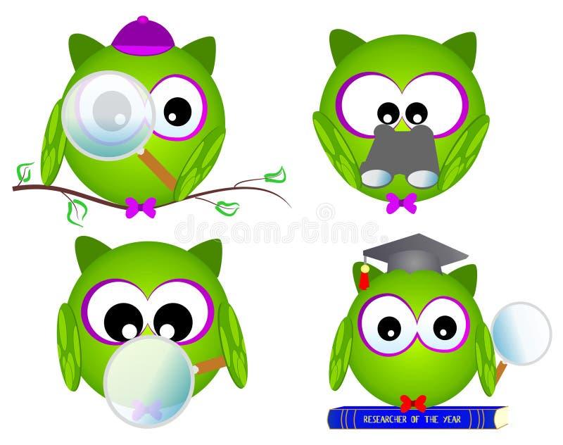 trevlig owlforskare royaltyfri illustrationer