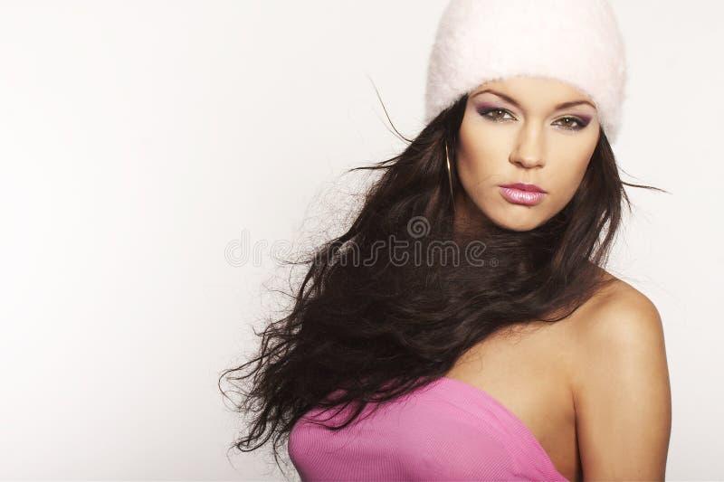 trevlig pink för flickahatt royaltyfri bild