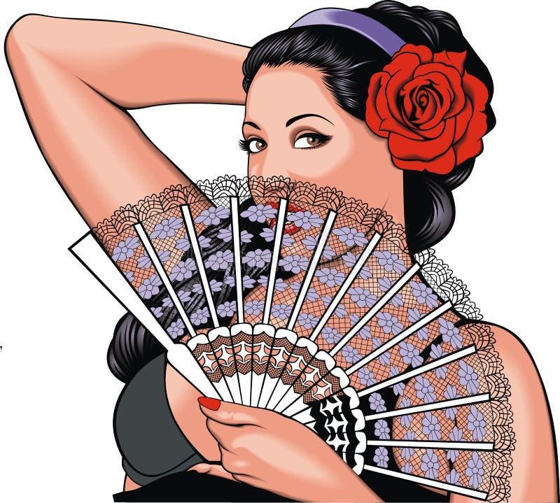trevlig romantisk kvinna royaltyfri illustrationer