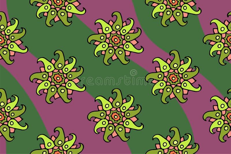 Trevlig sömlös blom- modell med gröna blommor royaltyfri illustrationer