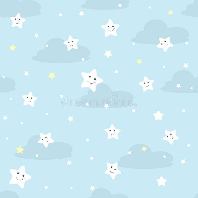 Trevlig seamlesmodell för barn Vektorillustration med stjärnor och moln royaltyfri illustrationer