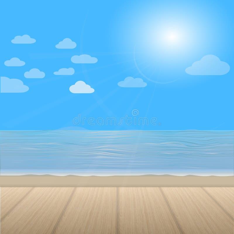 Trevlig sikt av havet och trägolvet Duva som symbol av förälskelse, pease stock illustrationer
