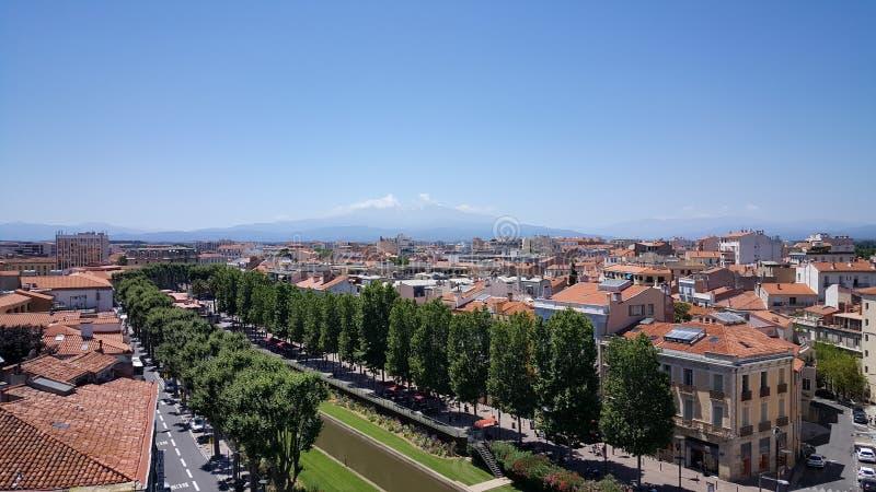 Trevlig sikt i Perpignan arkivbilder