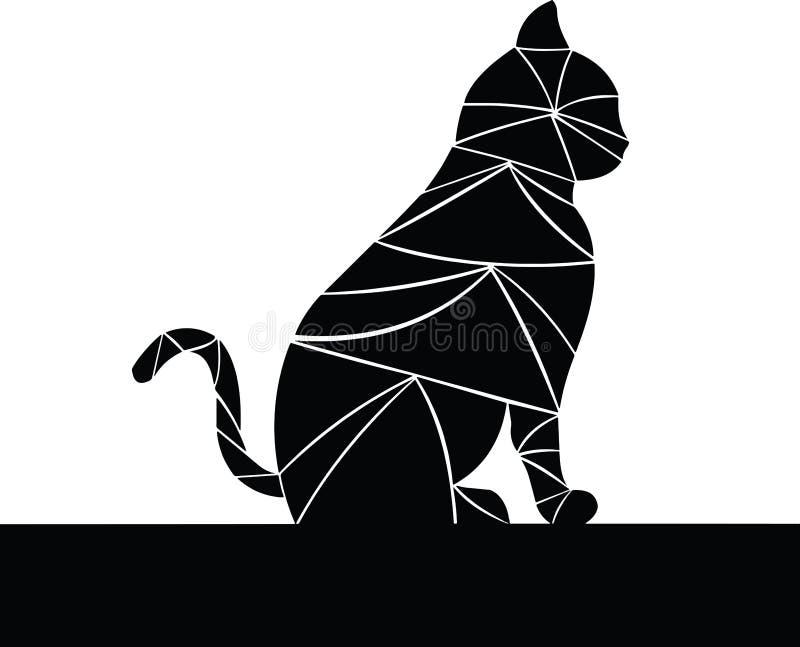 trevlig svart katt Svarta trianglar med vita översikter vad gör det specialt royaltyfri illustrationer