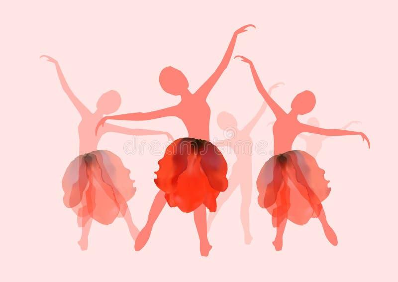 Trevliga flickor som dansar balett vektor illustrationer