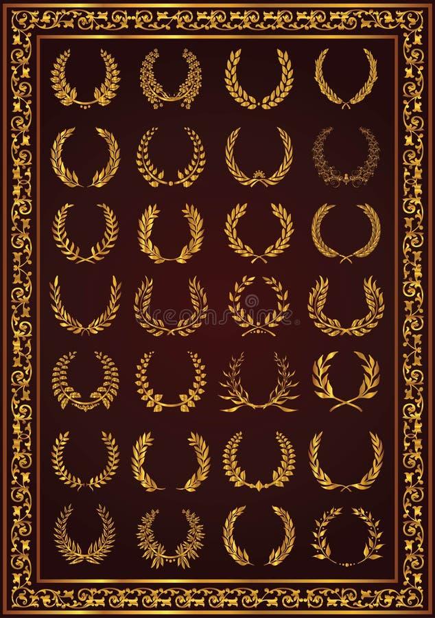Trevliga lagerkransar ställde in guld- färg vektor illustrationer