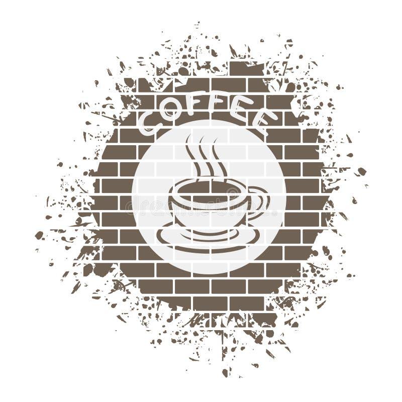 Trevligt coffesymbol stock illustrationer