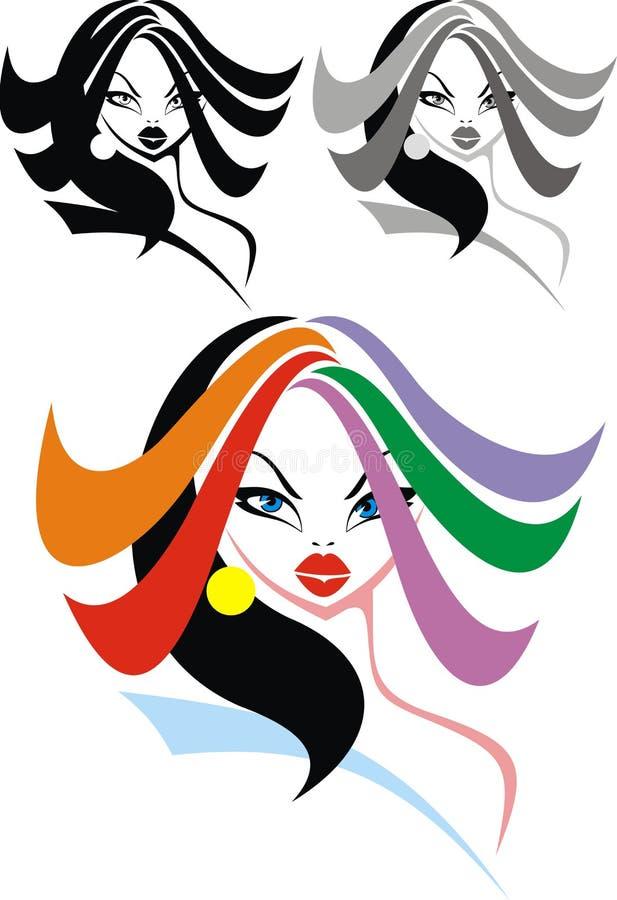 Trevligt flickahuvud med färghår vektor illustrationer